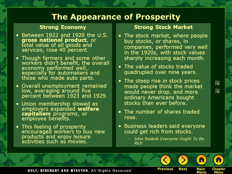 The Appearance of Prosperity