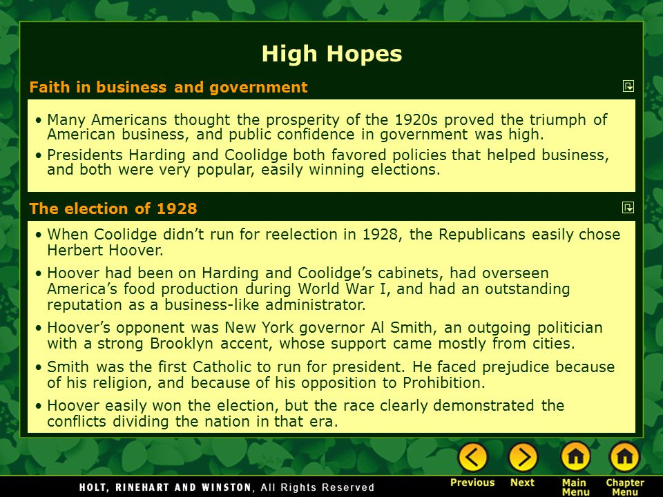 High Hopes Faith in business and government