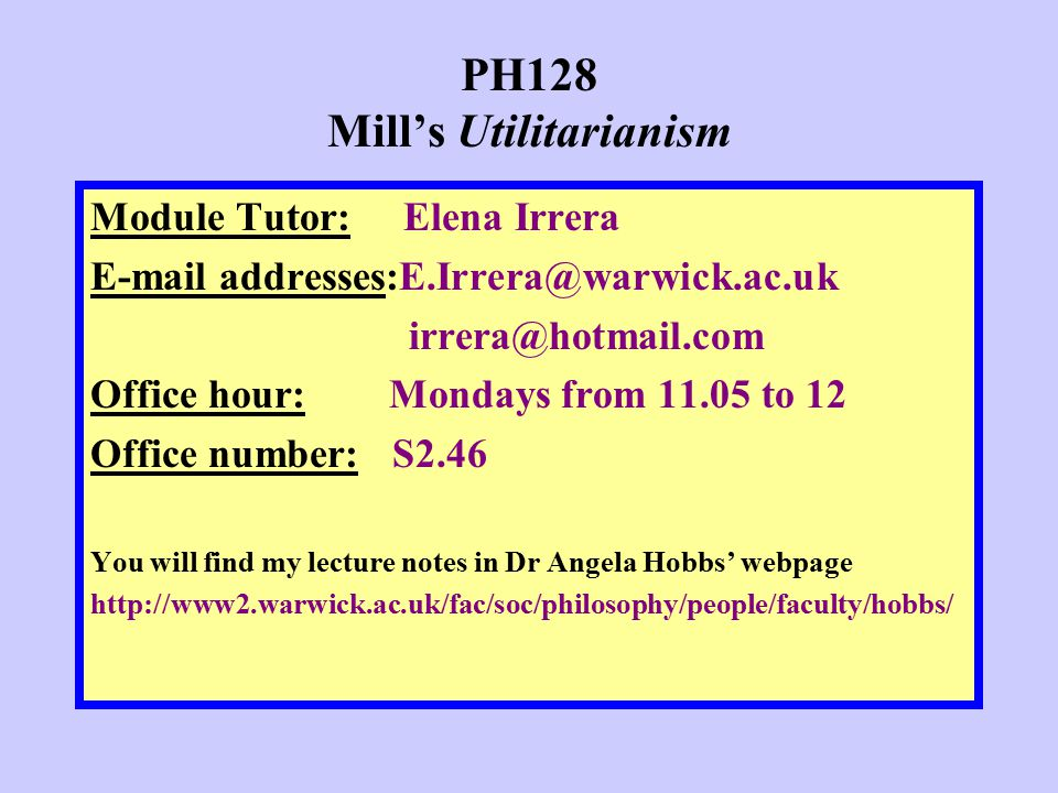 PH128 Mill's Utilitarianism