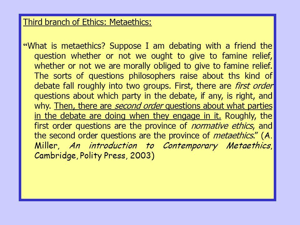 Third branch of Ethics: Metaethics: