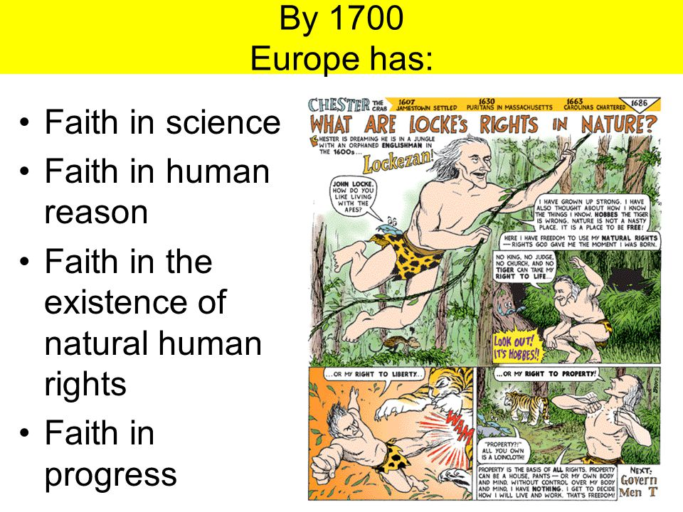 By 1700 Europe has: Faith in science. Faith in human reason. Faith in the existence of natural human rights.