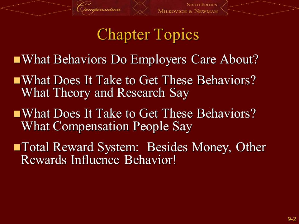 Chapter Topics What Behaviors Do Employers Care About
