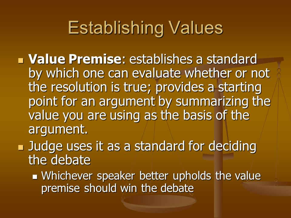 Establishing Values