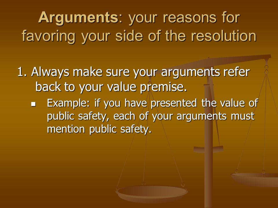 Arguments: your reasons for favoring your side of the resolution