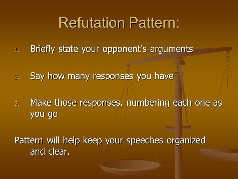 Refutation Pattern: Briefly state your opponent's arguments