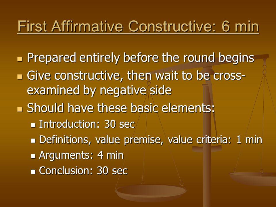 First Affirmative Constructive: 6 min