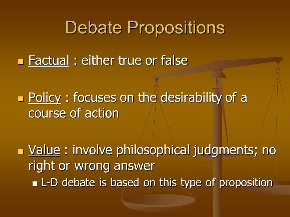 Debate Propositions Factual : either true or false