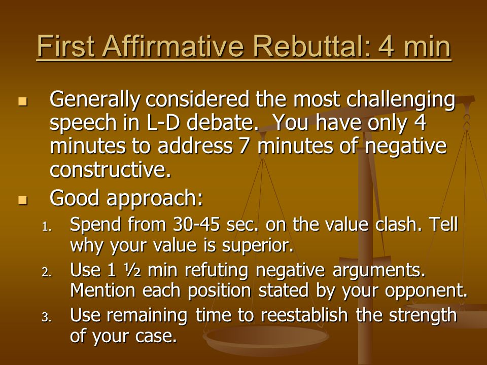 First Affirmative Rebuttal: 4 min