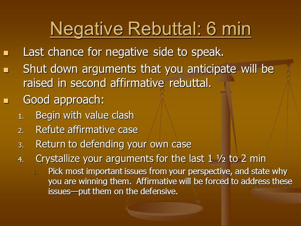 Negative Rebuttal: 6 min