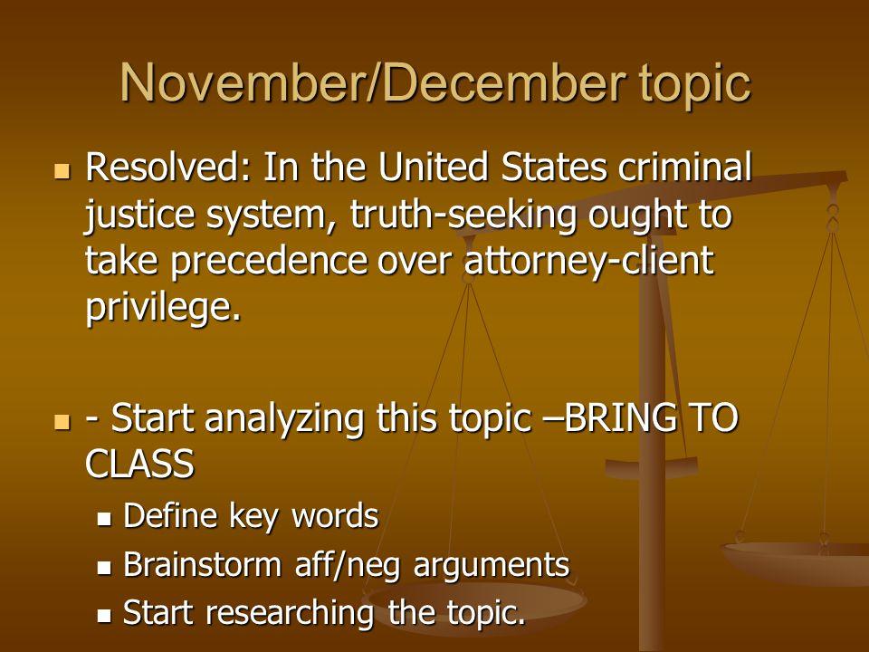 November/December topic