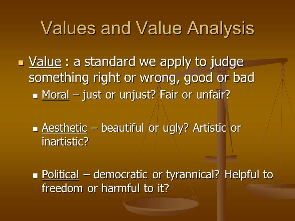 Values and Value Analysis