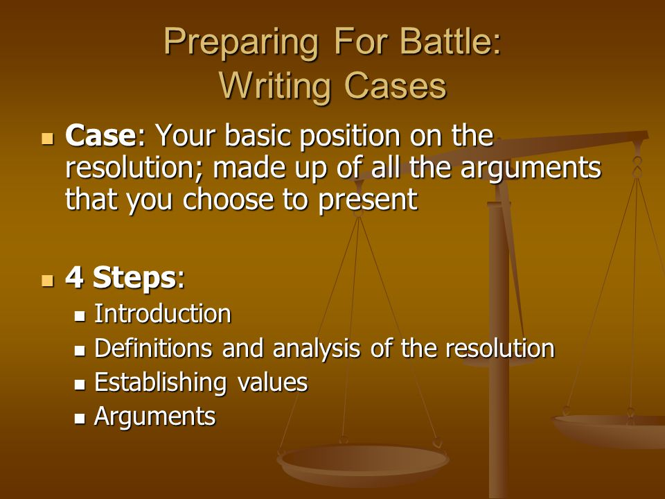 Preparing For Battle: Writing Cases