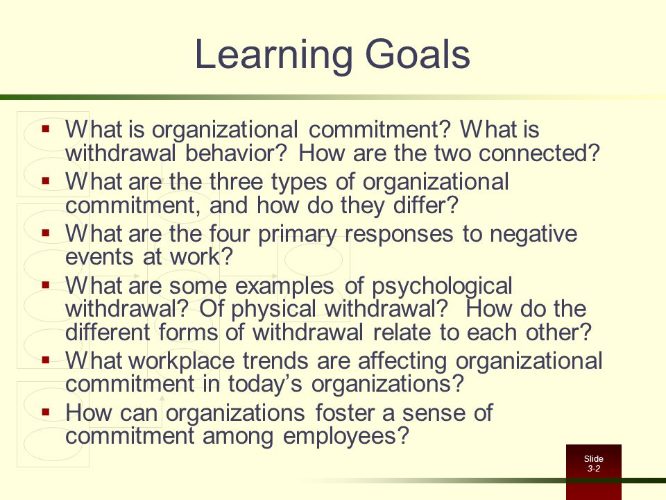 Learning Goals What is organizational commitment What is withdrawal behavior How are the two connected