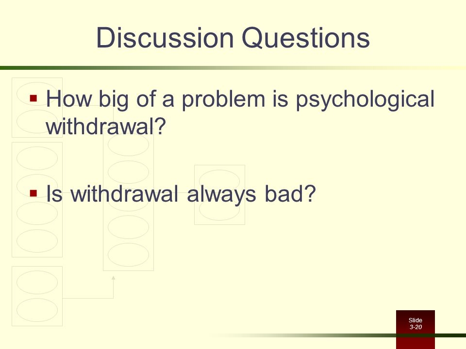 Discussion Questions How big of a problem is psychological withdrawal
