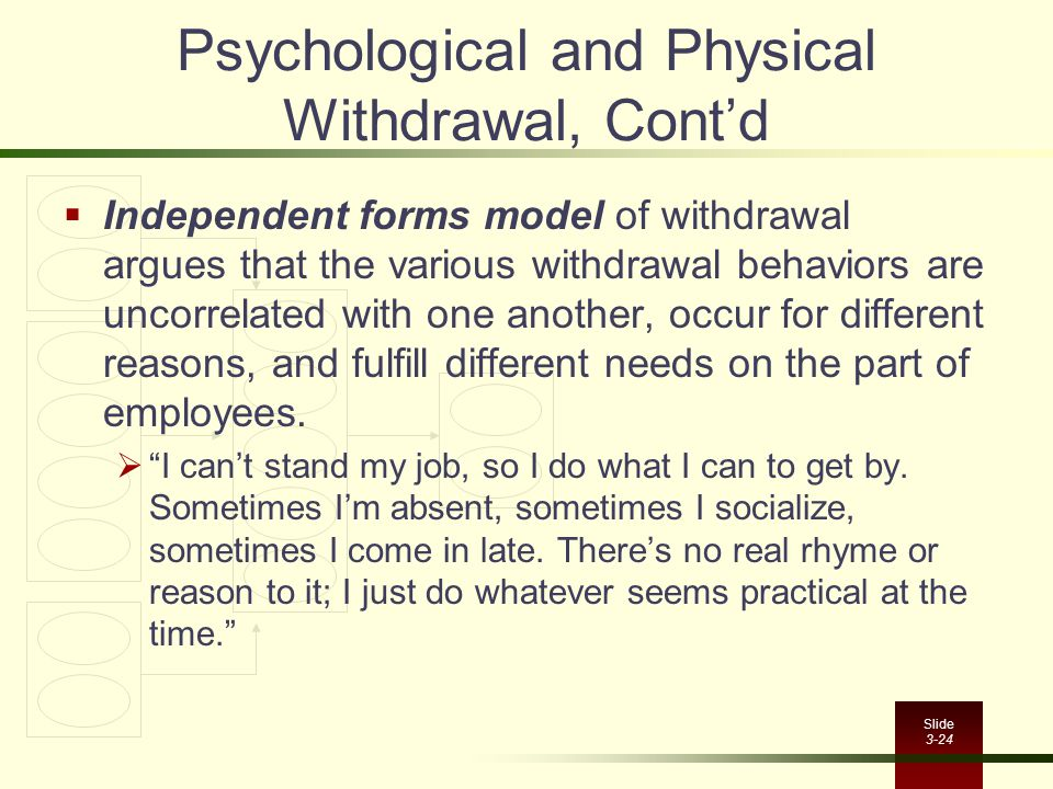 Psychological and Physical Withdrawal, Cont'd