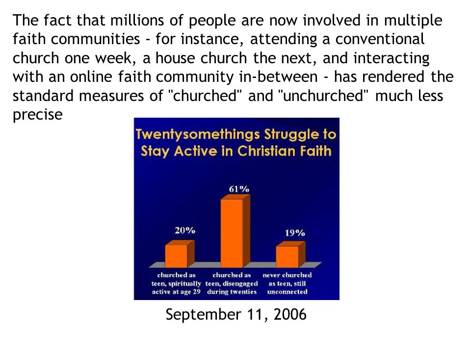 The fact that millions of people are now involved in multiple faith communities - for instance, attending a conventional church one week, a house church the next, and interacting with an online faith community in-between - has rendered the standard measures of churched and unchurched much less precise