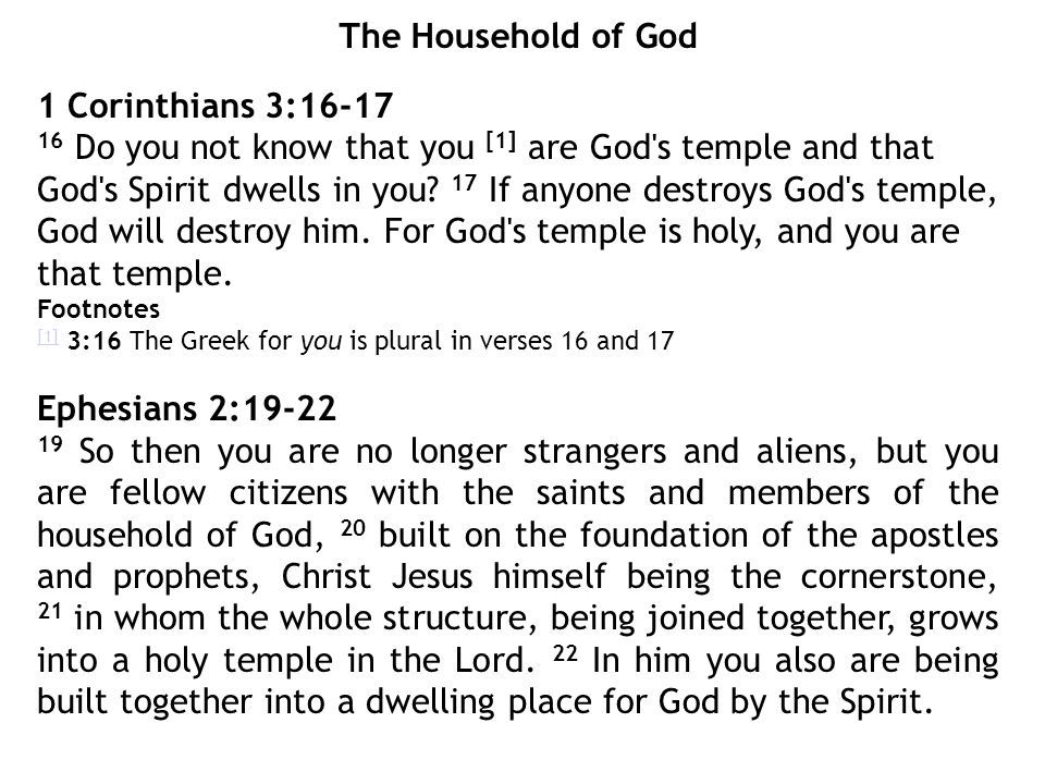The Household of God 1 Corinthians 3:16-17