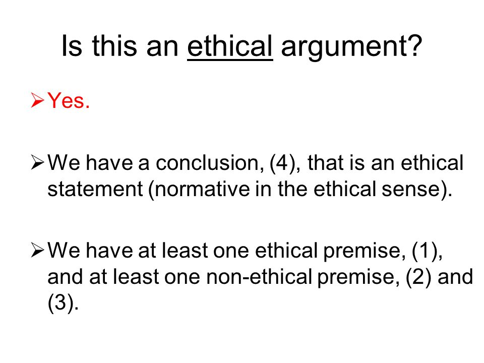 Is this an ethical argument