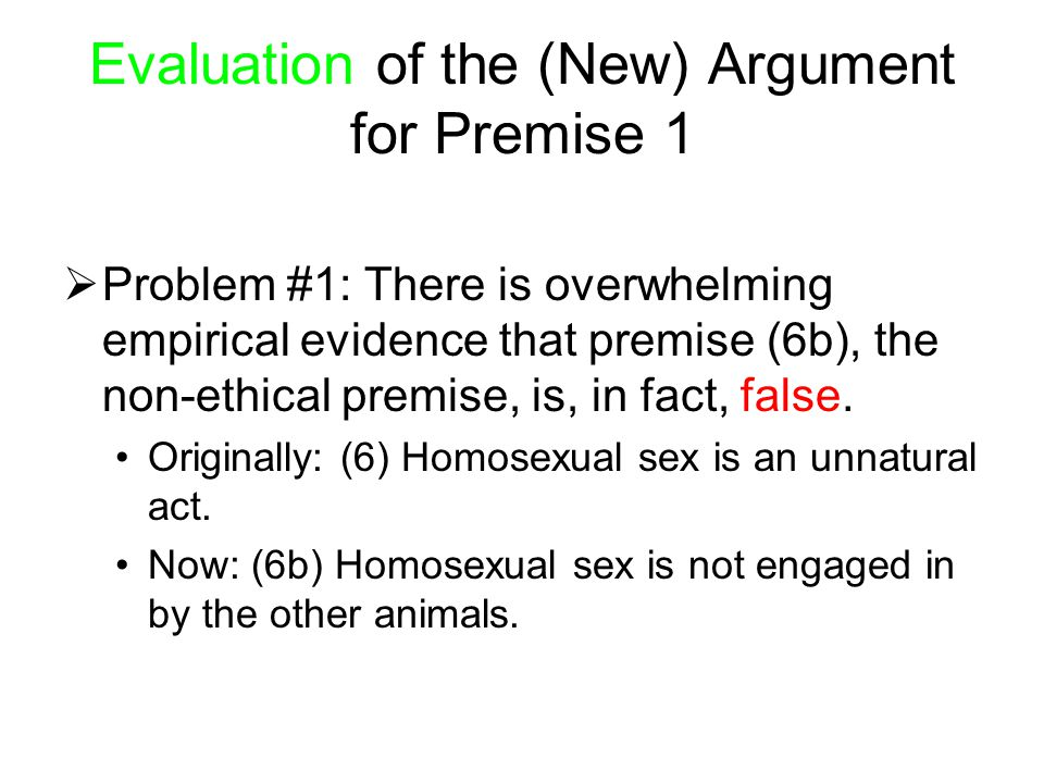 Evaluation of the (New) Argument for Premise 1