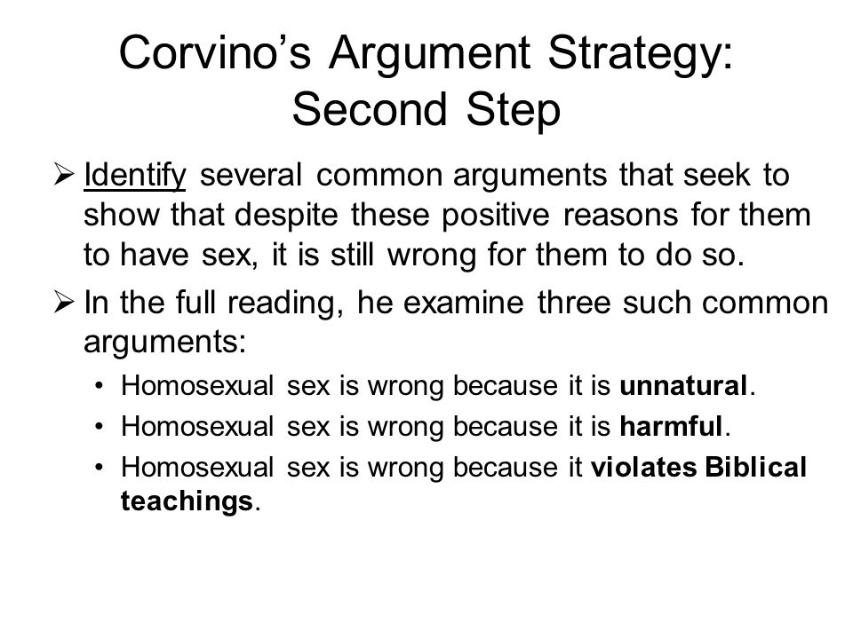 Corvino's Argument Strategy: Second Step