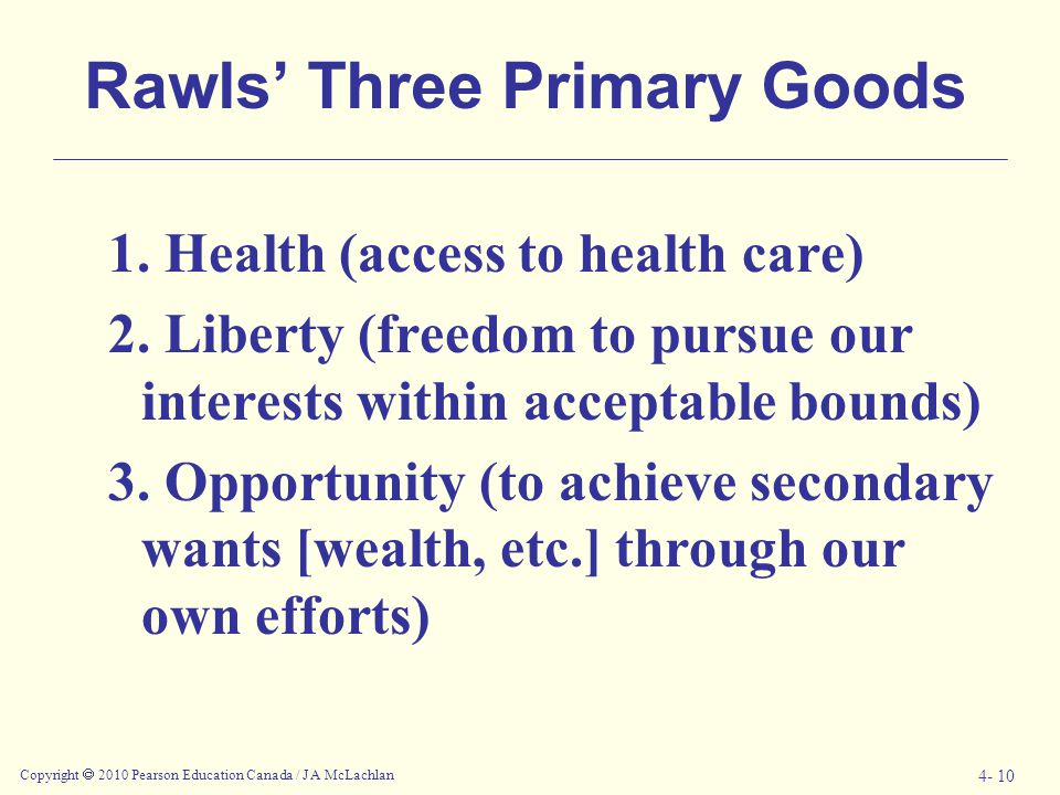 Rawls' Three Primary Goods