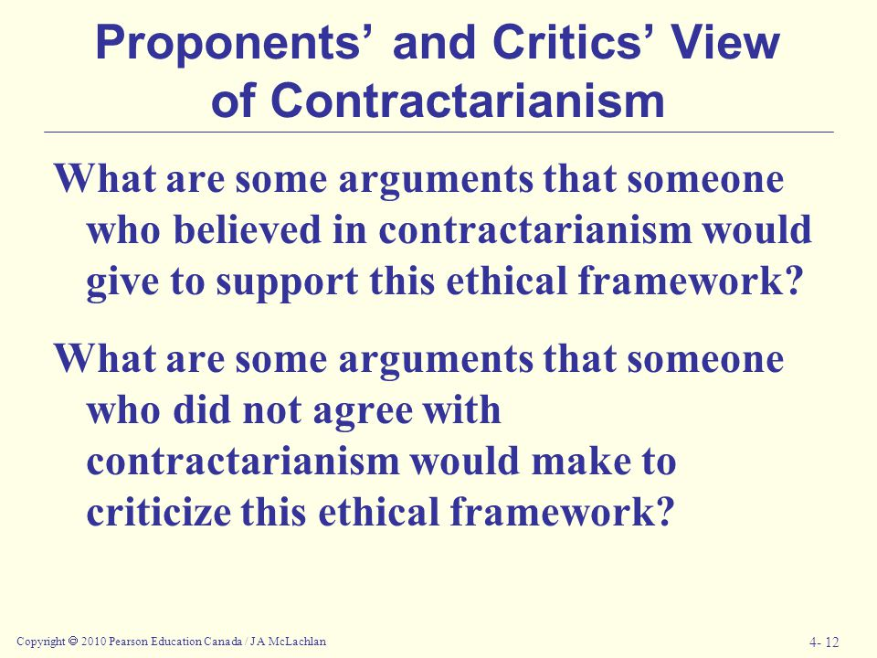Proponents' and Critics' View of Contractarianism