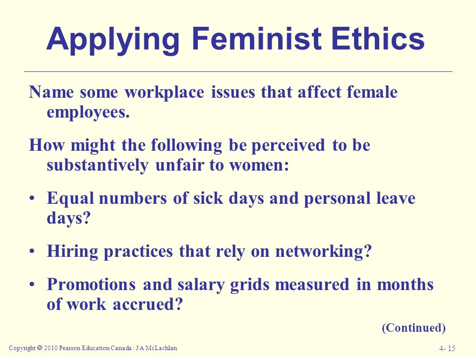 Applying Feminist Ethics
