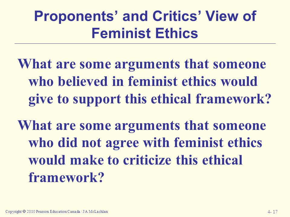 Proponents' and Critics' View of Feminist Ethics