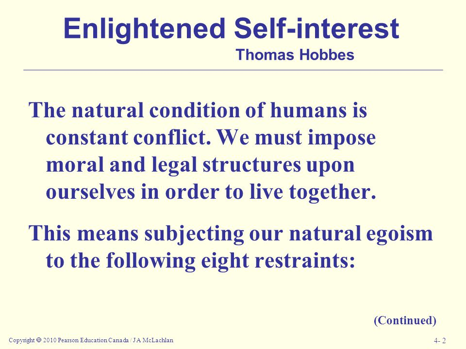 Enlightened Self-interest Thomas Hobbes