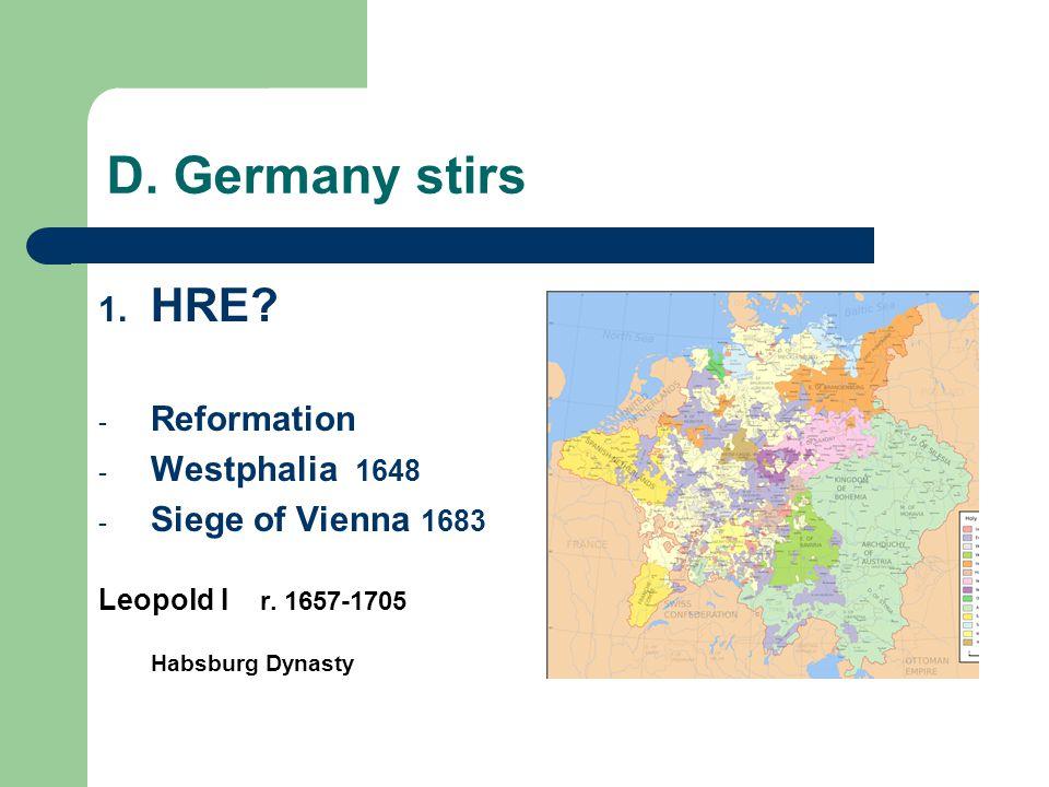 D. Germany stirs HRE Reformation Westphalia 1648 Siege of Vienna 1683