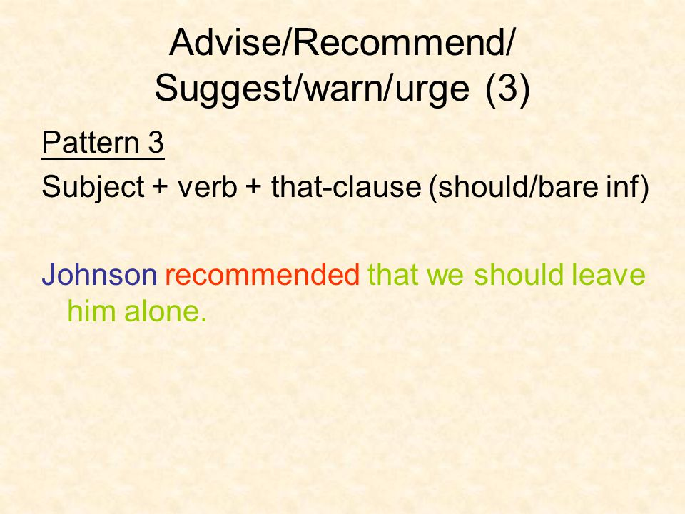 Advise/Recommend/ Suggest/warn/urge (3)