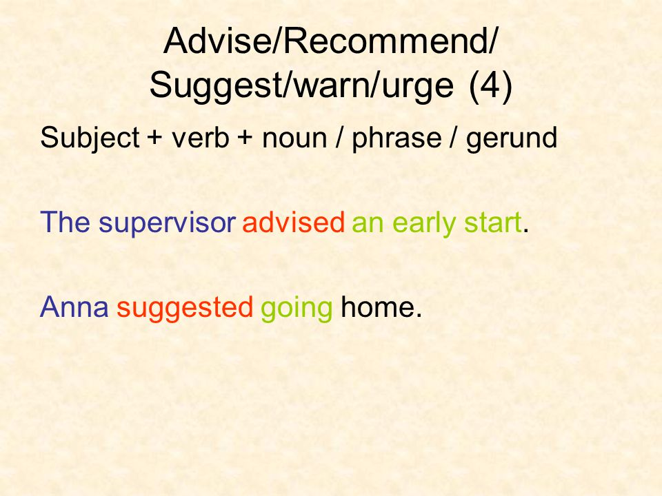 Advise/Recommend/ Suggest/warn/urge (4)