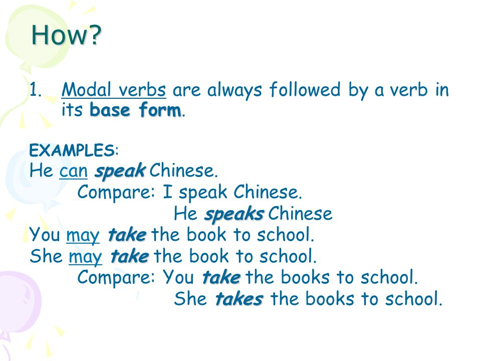 How Modal verbs are always followed by a verb in its base form.