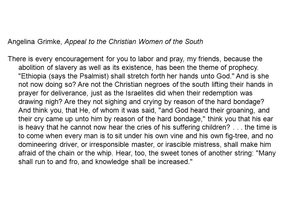 Angelina Grimke, Appeal to the Christian Women of the South