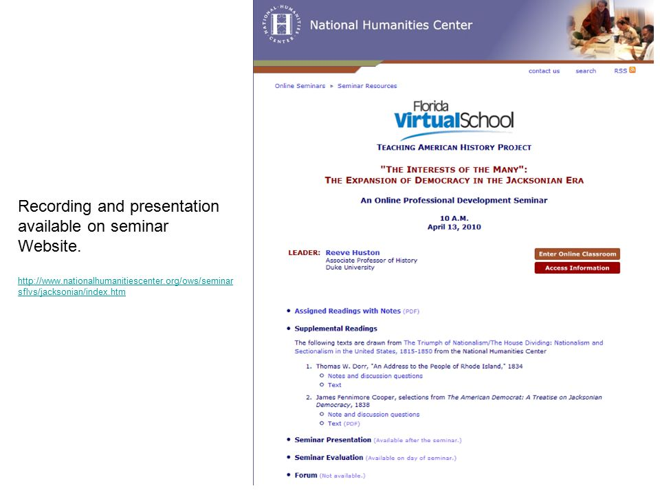 Recording and presentation available on seminar Website.