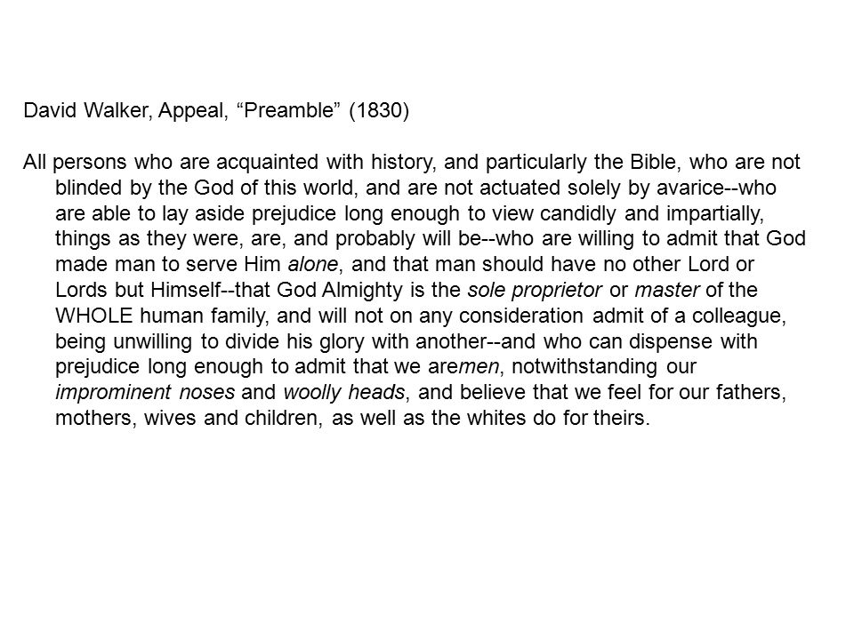 David Walker, Appeal, Preamble (1830)