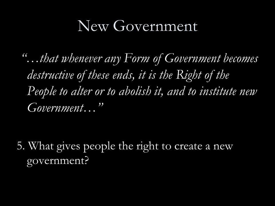 New Government