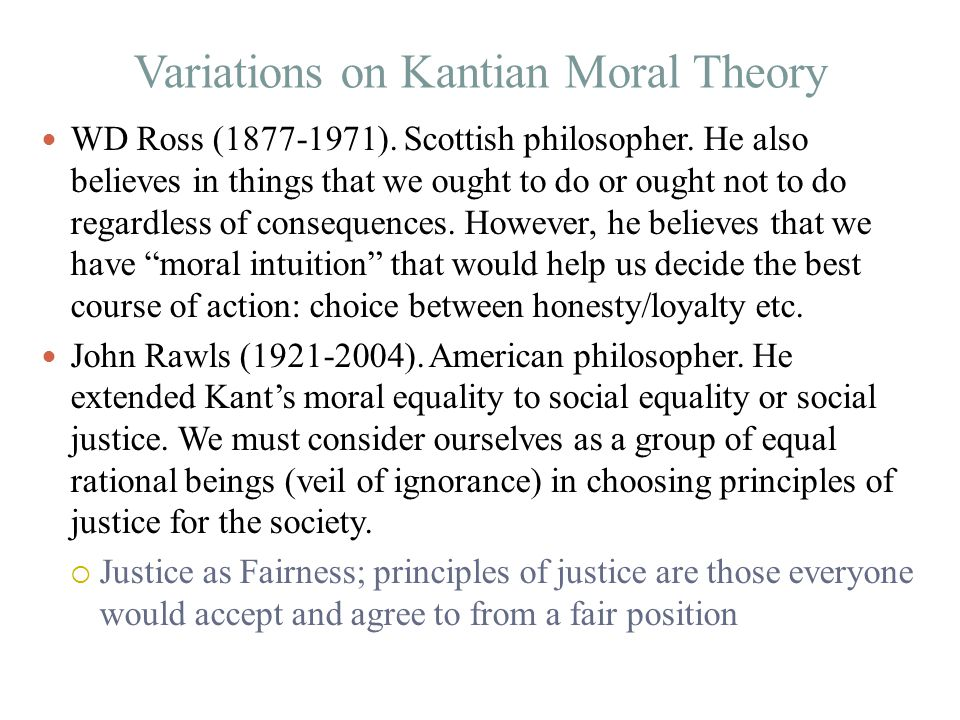 Variations on Kantian Moral Theory