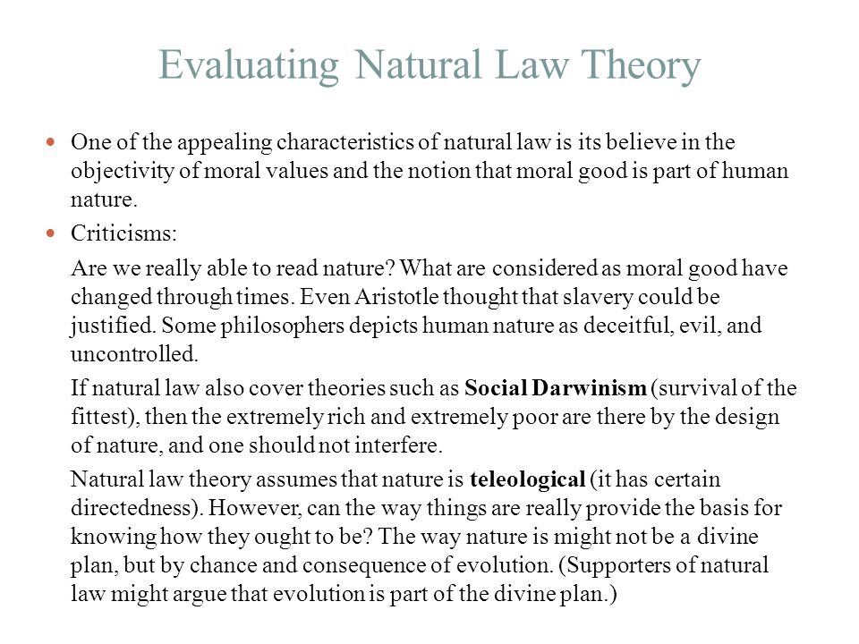 Evaluating Natural Law Theory