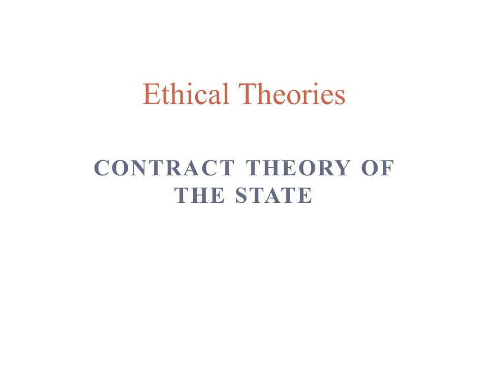 Contract theory of the State