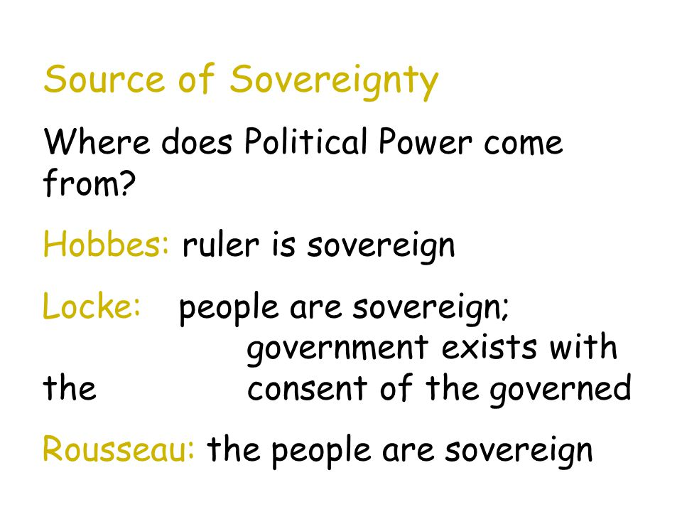 Source of Sovereignty Where does Political Power come from