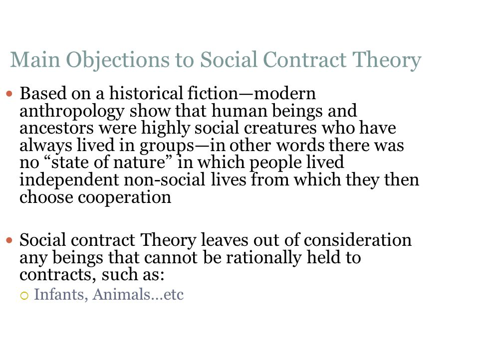 Main Objections to Social Contract Theory