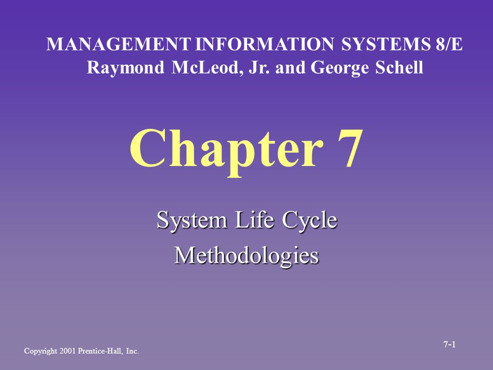 Chapter 7 System Life Cycle Methodologies