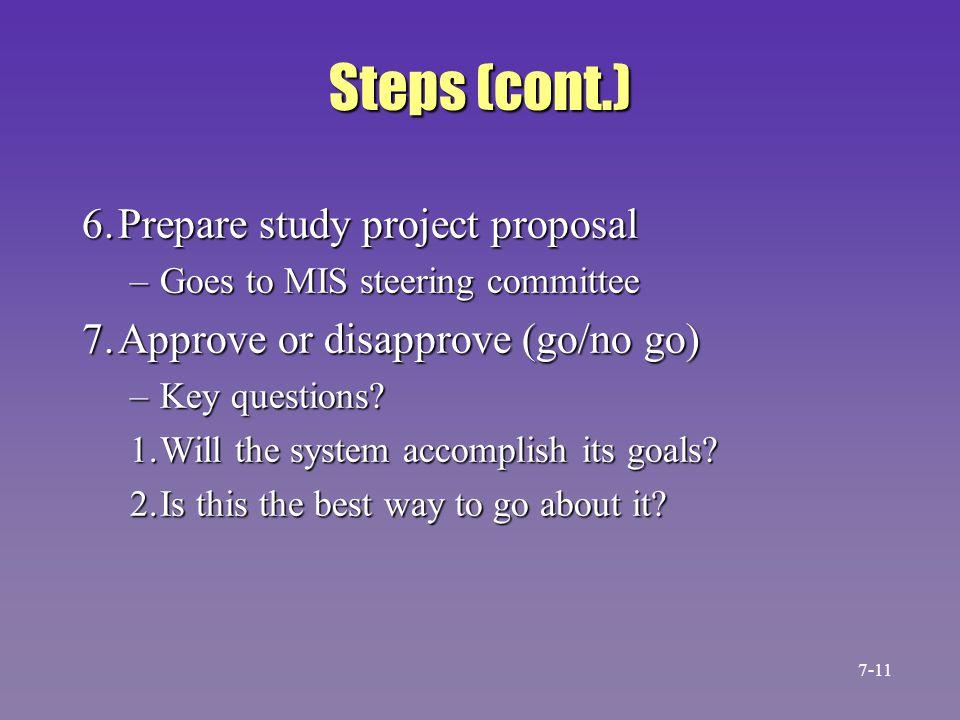 Steps (cont.) 6. Prepare study project proposal