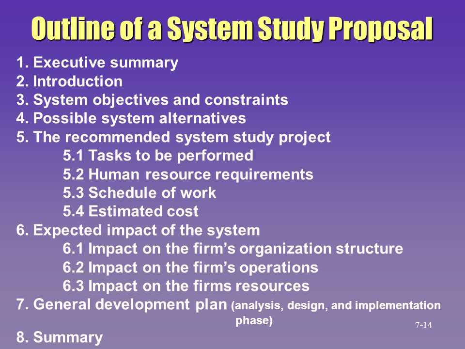 Outline of a System Study Proposal