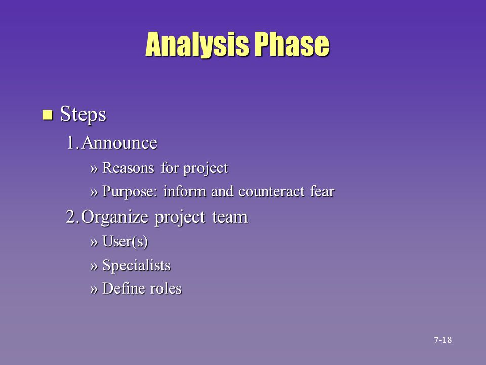 Analysis Phase Steps 1. Announce 2. Organize project team