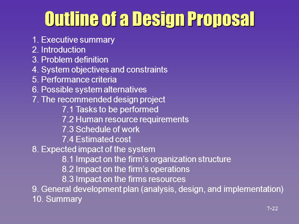 Outline of a Design Proposal