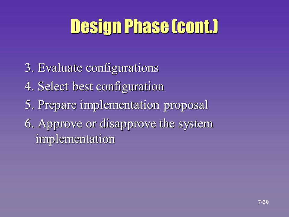 Design Phase (cont.) 3. Evaluate configurations
