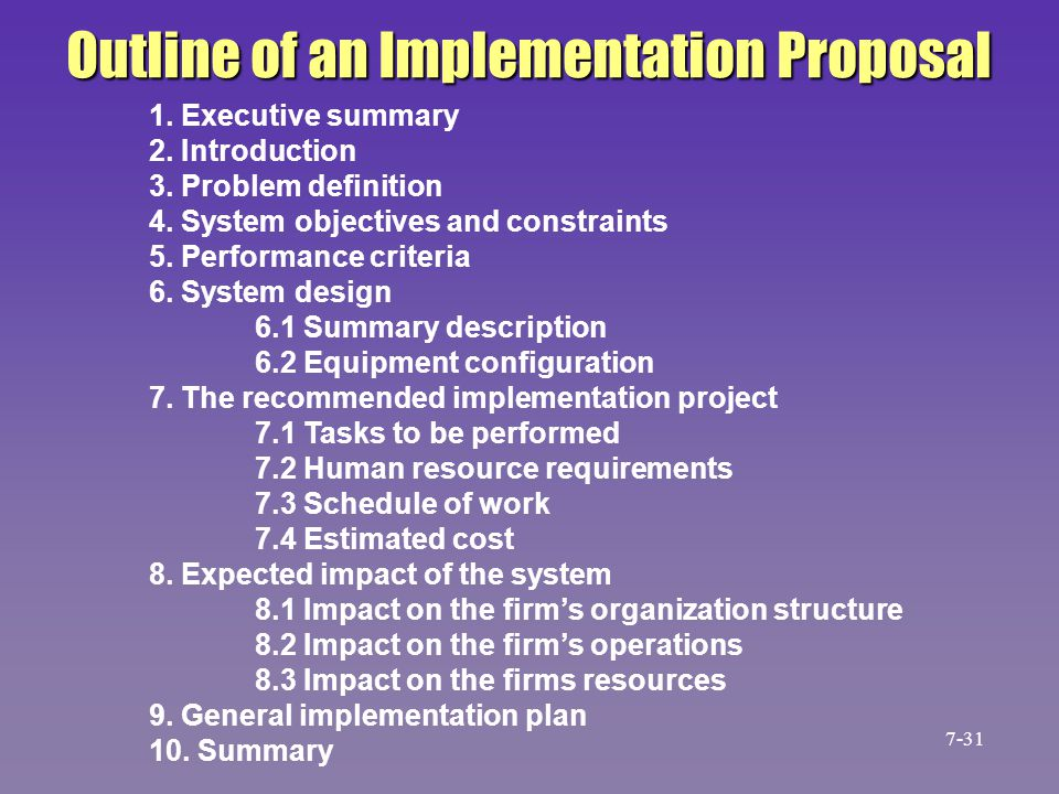 Outline of an Implementation Proposal