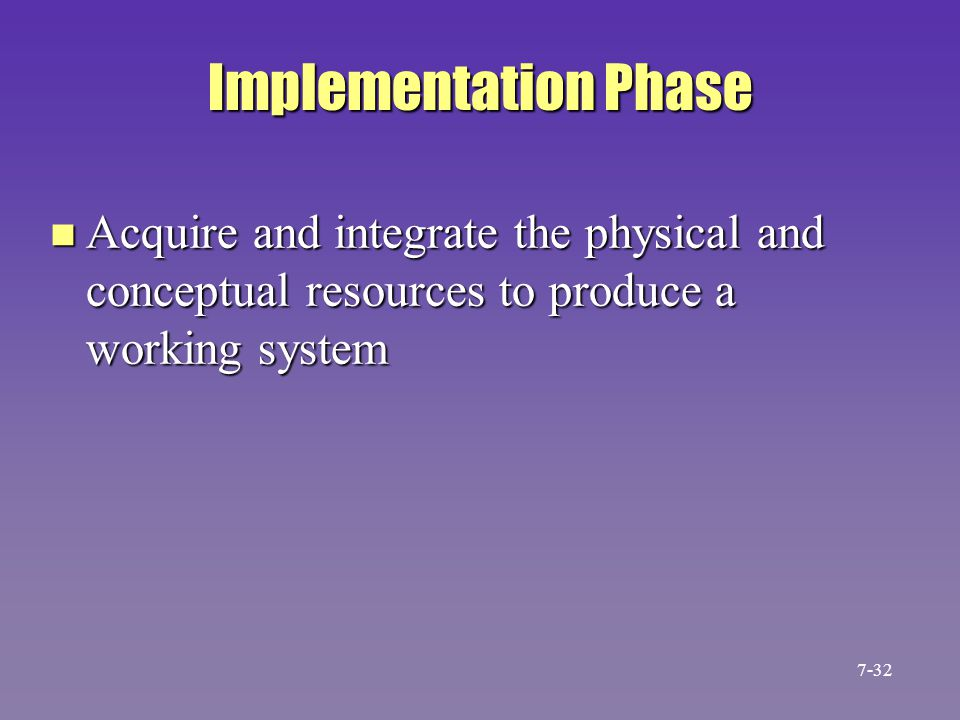 Implementation Phase Acquire and integrate the physical and conceptual resources to produce a working system.